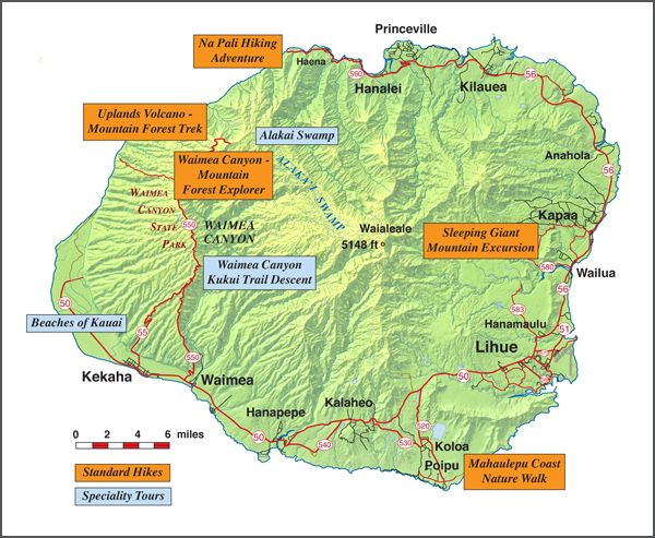 Hike Kauai Tours on Kauai Map