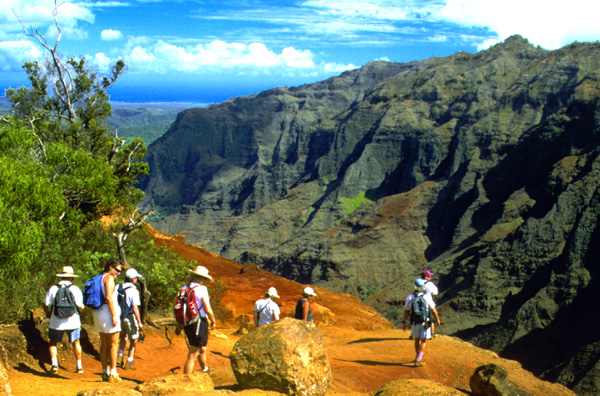 Tour Guests view Grand Canyon of the Pacific on Waimea Canyon Explorer Kauai Hike