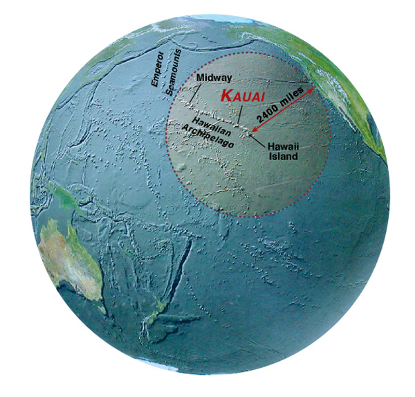 Hawaii location on globe