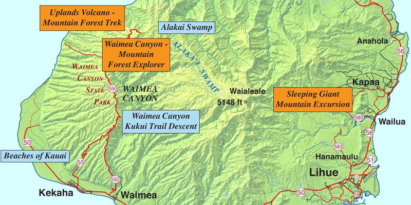 Hiking Kauai Tours and Map
